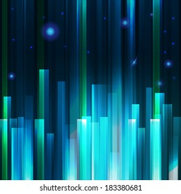 Abstract city vector background. Lighting effect banner.