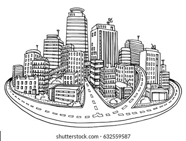 Abstract cityscape background, sketch for your design.-Vector illustration