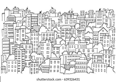 Abstract cityscape Hand drawn background, Drawing Doodle, seamless pattern for your design