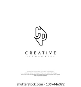 abstract clean modern lines CP logo letter design concept