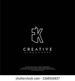 abstract clean modern lines FK logo letter design concept