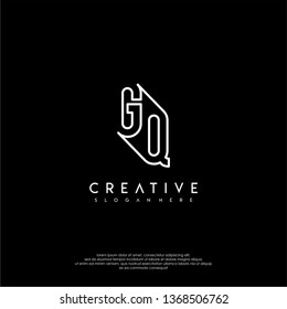 abstract clean modern lines GQ logo letter design concept