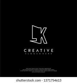 abstract clean modern lines LK logo letter design concept