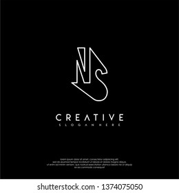abstract clean modern lines NS logo letter design concept