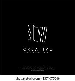abstract clean modern lines NW logo letter design concept