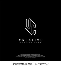 abstract clean modern lines OC logo letter design concept