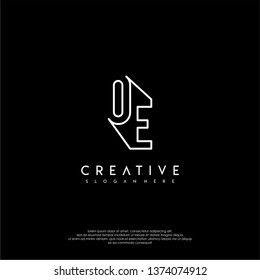 abstract clean modern lines OE logo letter design concept