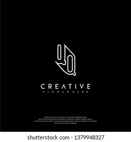 abstract clean modern lines QQ logo letter design concept