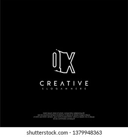 abstract clean modern lines QX logo letter design concept