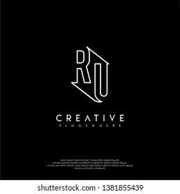 abstract clean modern lines RU logo letter design concept