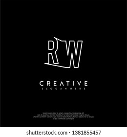 abstract clean modern lines RW logo letter design concept