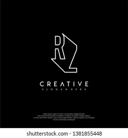 abstract clean modern lines RZ logo letter design concept