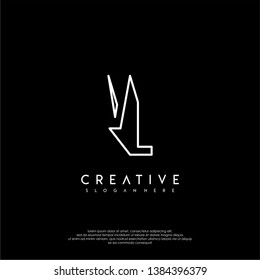 abstract clean modern lines VL logo letter design concept