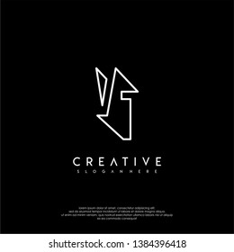 abstract clean modern lines VT logo letter design concept