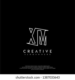 abstract clean modern lines XM logo letter design concept