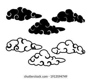 Abstract Cloud , Chinese Cloud , Curl cloud , Cloud icon set
