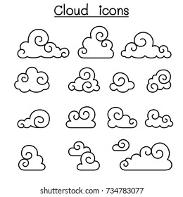 Abstract Cloud , Chinese Cloud , Curl cloud, cloud icon set