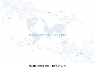 Abstract cloud computing background and networks concept with earth globes. Global digital connections with dotted and lines. Big data visualization complex with compounds. Vector illustration.