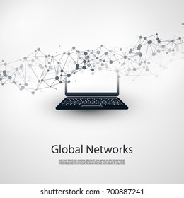 Abstract Cloud Computing and Global Network Connections Concept Design with Laptop Computer, Wireless Mobile Device, Transparent Geometric Mesh - Illustration in Editable Vector Format