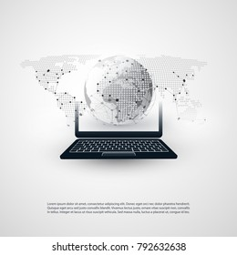 Abstract Cloud Computing, Global Networks Concept Design with Laptop, Wireless Mobile Device, Earth Globe and Transparent Spotted World Map - Illustration in Editable Vector Format