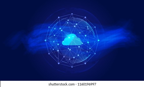 Abstract cloud data, digital earth, point and line connections, science and technology innovation concept vector background
