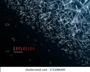Abstract cloud of glass pieces and fragments after explosion. Shatter and destruction effect.Vector illustration.