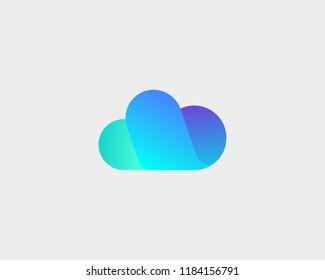 Abstract cloud logo design. Storage weather creative vector logotype.