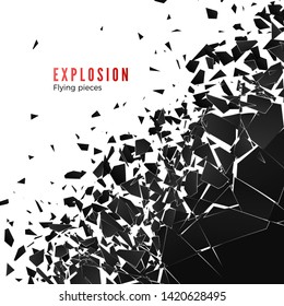 Abstract cloud of pieces and fragments after wall explosion. Shatter and destruction effect. Vector illustration isolated on white background