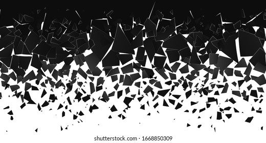 Abstract cloud of pieces and fragments after explosion. Shatter and destruction effect. Demolition surface. Vector illustration