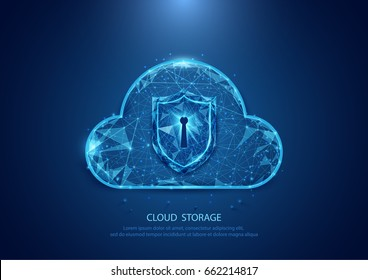 Abstract cloud technology security form of a starry sky internet, data, connection concept background. wireframe concept design