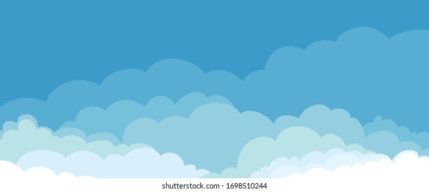 Abstract cloudscape with fluffy clouds. Vector illustration, background with blue sky