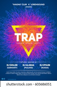 """Abstract club poster design. Colorful """"Trap party"""" flyer template. Eps10 vector."""