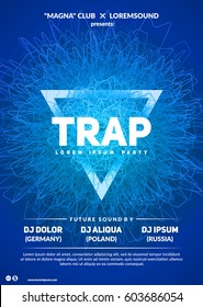 """Abstract club poster design. """"Trap party"""" flyer template. Eps10 vector."""