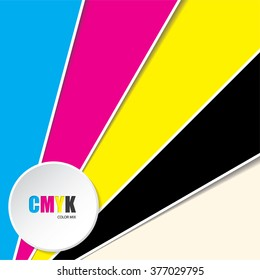 Abstract cmyk background with 3d button and CMYK text