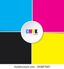 Abstract cmyk background with white stripes and 3d button in middle