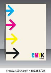 Abstract cmyk brochure design with arrow elements