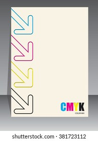 Abstract cmyk brochure design with color arrow elements