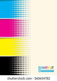 Abstract cmyk halftone background template with sample text