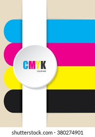 Abstract cmyk stripes background with 3d button
