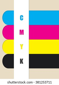 Abstract cmyk stripes background with color ribbons