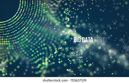 Abstract coding process. Big data futuristic infographic. Colorful particle grid with bokeh