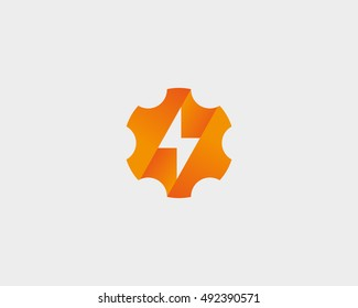 Abstract cog wheel with flash logo design template. Geometric gear fast quick thunderbolt logotype. Universal energy tech rapid app vector icon symbol