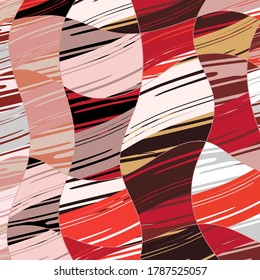 Abstract collage asymmetric pattern. Digital freehand art, grunge texture. Vector patchwork quilt background. Decorative elements, brush strokes ornament for flyer, poster, cover, textile fabric print