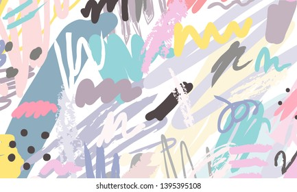 Abstract collage background hand drawn colorful. Beautiful art painting colored with hand drawing element for fabric print, wrapping paper, printable art, wallpaper, banner and poster background. - Shutterstock ID 1395395108