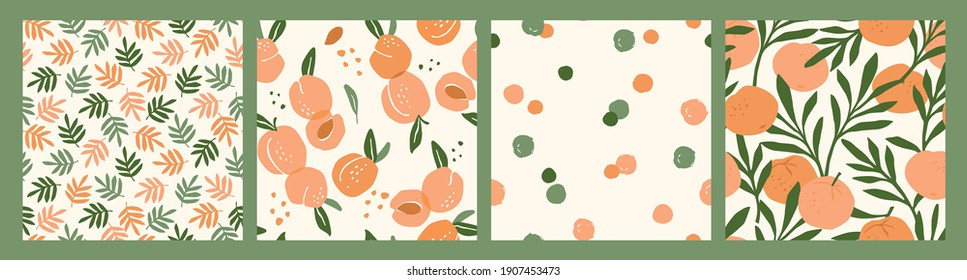 Abstract collection of seamless patterns with apricots and oranges. Modern design for paper, cover, fabric, interior decor and other users.