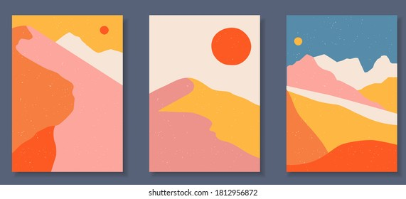 Abstract coloful landscape poster collection. Set of contemporary art print templates. Nature backgrounds for your social media. Sun and moon, sea, mountains, ocean, river bundle.