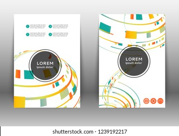 Abstract color brochure design template with geometric elements