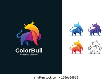 Abstract Color Bull logotype  for  Branding