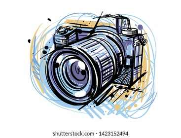 abstract color camera on white background