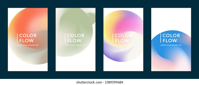 Abstract color covers. Set of backgrounds. Abstract gradient background. Wave blend pattern. Fluid shapes composition. Futuristic design posters. Eps10 vector.